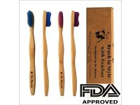 Bamboo toothbrush – Dentist Designed – 4 Count Value Pack – Gum Protection
