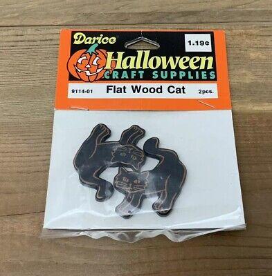 Vintage Halloween Craft Supplies (Vintage Darice Black Cat Halloween Flat Wood Craft Supplies 9114-01)