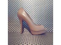 Size 3/ Eur 36 Beige Nude Leather ALDO Stiletto Peep Toe Heels