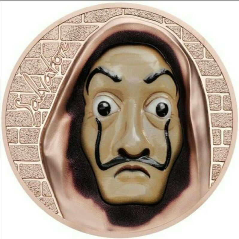 2018 1 Oz Silver $5 SALVATORE Dali Money Heist Revolutionary Masks Coin.