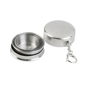 Portable Folding 75ml Stainless Steel Travel Outdoor Hiking Collapsible Cup G#