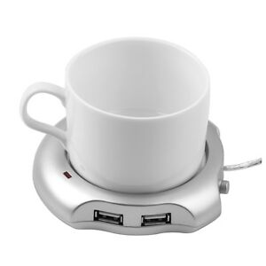Silver 4 Port USB Hub + Tea Coffee Beverage Cup Electric Warmer Heater GO