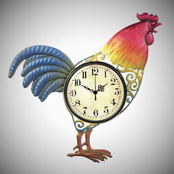 Metal Scroll Rooster Shaped WALL CLOCK French Country Farm Home Kitchen Decor