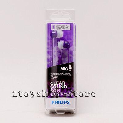Philips SHE3595 In-Ear Bud Earbuds Earphones Headset Headphones w/Mic Purple NEW