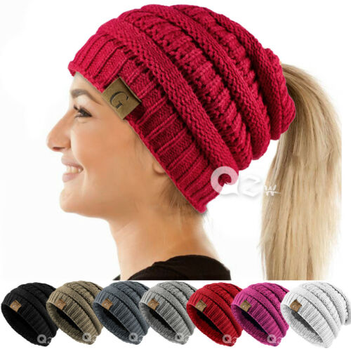 Women Messy Bun Ponytail Skull Knitted Beanie Fleece Winter Hat Fur Lining Cap