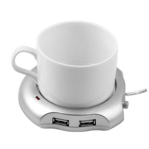 Silver 4 Port USB Hub + Tea Coffee Beverage Cup Electric Warmer Heater NC