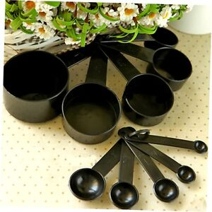 10Pcs Black Plastic Measuring Spoons Cups Set Tools For Baking Coffee Tea GO