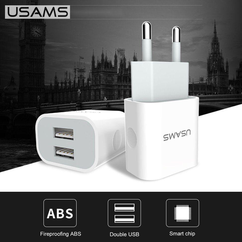 CARICA BATTERIA ORIGINALE USAMS® FAST VELOCE DUAL USB 2,4A +1A RETE MICRO 220V
