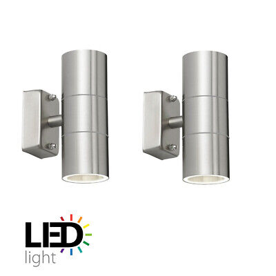 Paradise Stainless Steel Outdoor Wall Lights. IP54 Up & Down with LED Spots