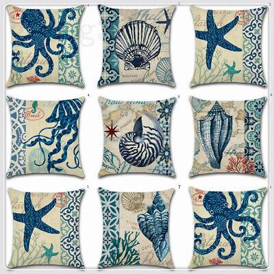 - New Ocean Blue Shell Cotton Linen Pillow Case Throw Cushion Cover Home Decor