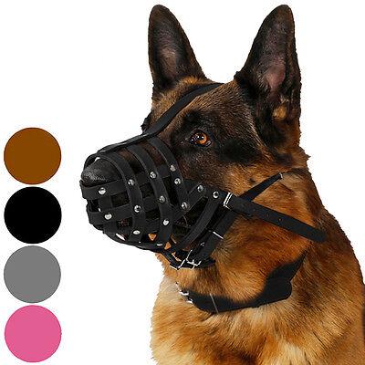 - German Shepherd Dog Muzzle Pink Brown Secure Leather Basket Medium Large Breeds