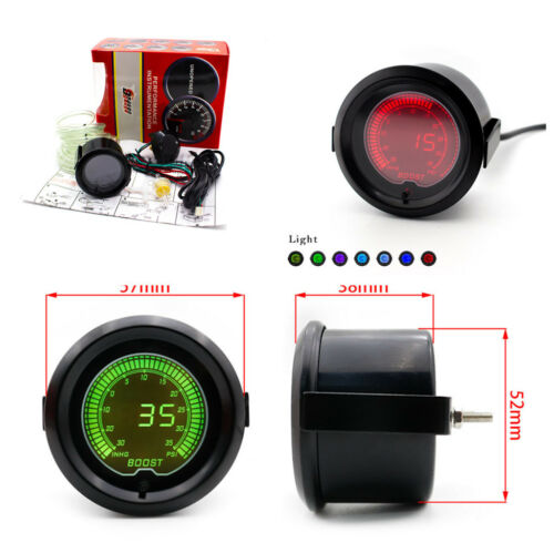 35 PSI Boost Gauge 7 Colors Digital LED Indicator Light Sensor for 12V Auto Car