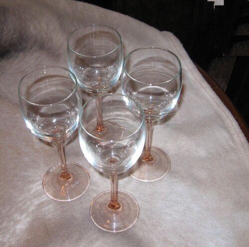 Durand Rose Claret wine glass lot of 4 Beautiful lot 7 3/4 high FREE SHIP!!