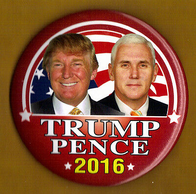 2016 Donald Trump Mike Pence 3  Large Size    Ng Slater Campaign Button Pin 03L