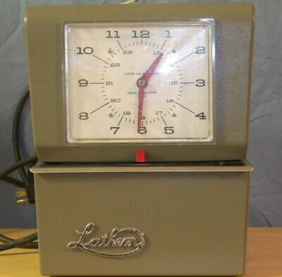 Vintage Lathem Time Clock Working With Lock And Key Model 4021