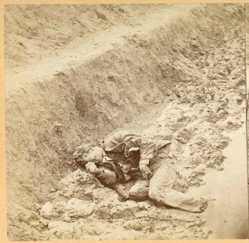 B7482~ Civil War Petersburg VA Dead Confederate Soldier –TC Roche Stereoview