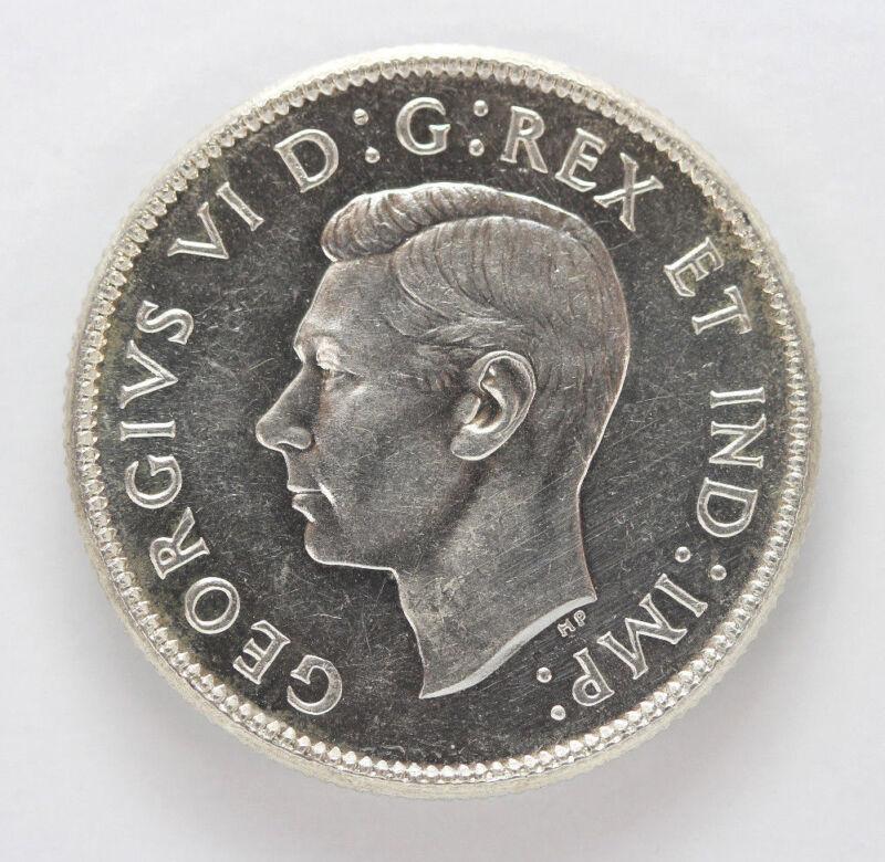 1945 Canada Silver 25 Cents George VI km35  - 91422h