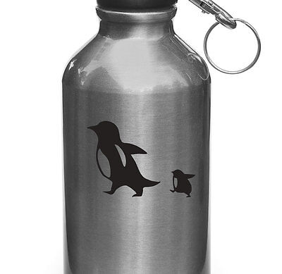 WB - Penguin Mom & Baby D1 - Water Bottle Decal Sticker ©YYDC (3