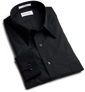 Van Heusen Men's Shirt Wrinkle Free Solid White Black Cotton Regular Big & tall