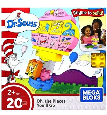 Mega Bloks Dr Seuss Oh The Places You'll Go Building Set 20 Pc Toy Kids Party