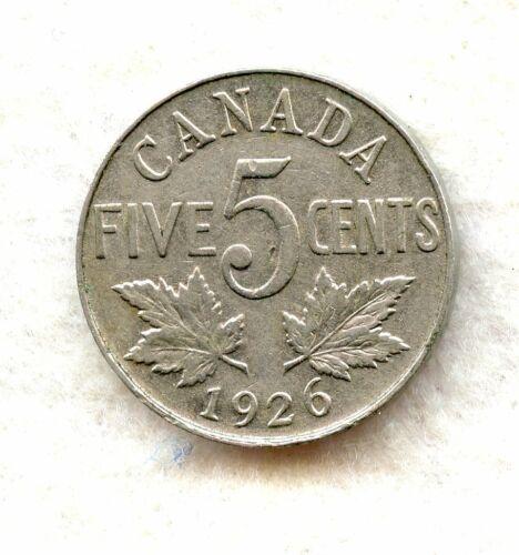 CANADA  ~ 1926 NEAR 6 ~ 5 CENT ~ VF