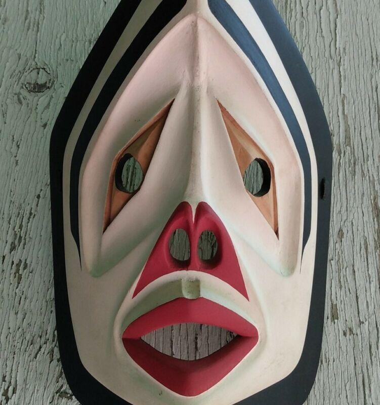 Vintage Northwest Coast Kwakwakwa Native American Wind Mask - Signed 1980