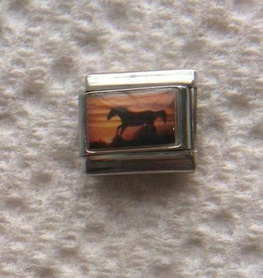 """HORSE TROTTING AT SUNSET""-ITALIAN 9MM CHARM-NATURE, HOBBY, MARE, FILLIE"