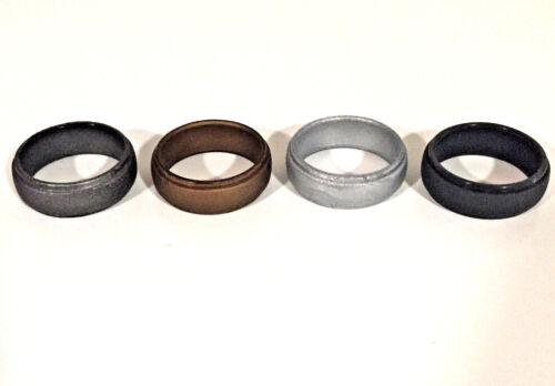 Metallic Silicone Wedding Ring Men Women Rubber Engagement Band Sport Flexible