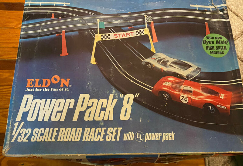Vintage  Eldon Power Pack 8 Slot Car 1/32 Scale Set