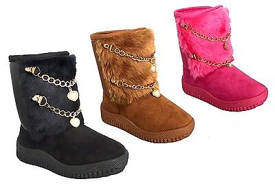 WHOLESALE LOT 36 Pairs New Infant Fashion Boot Faux Fur Chain Winter Shoes-2083B