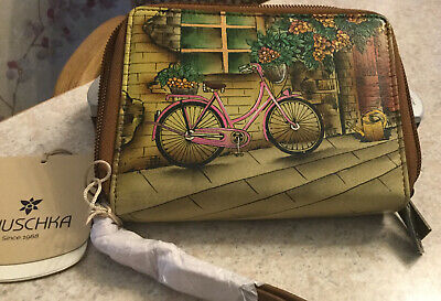 anuschka Hand Painted Leather Wallet. New With Tags.  Zip Around