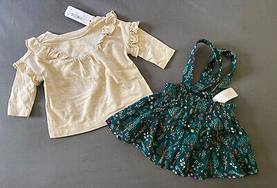 Baby Girl 0-3 Month Gymboree Oatmeal Ruffle Top & Forest Floral Jumper Dress