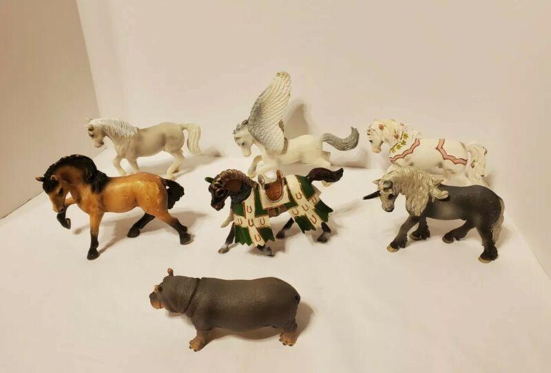 7 Schleich Model Animal Figurines Horses Winged Horse Hippo  Unicorn
