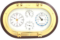 Bey-Berk 12 Porthole Wall Clock,Tide Clock,Thermometer, and Hygrometer