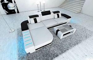 Sofa-de-la-esquina-diseno-BELLAGIO-L-Forma-diseno-sofa-con-LED-Blanco-Negro