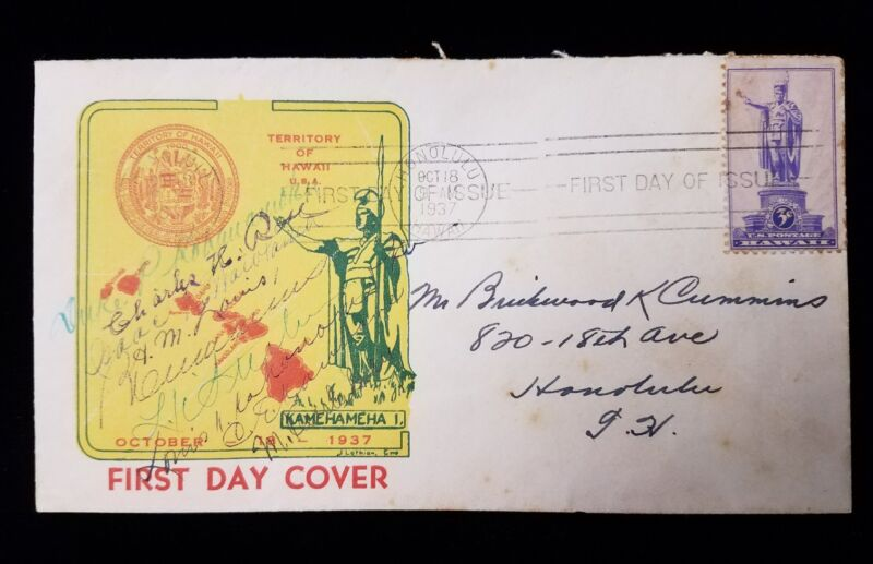 First Day Cover Signed by Duke Kahanamoku & others w/ Blank Sheriff Letterhead