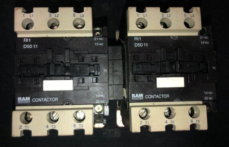 Set Of 2- RAM Industries RI1-D50 11 Contactor 50 Amp