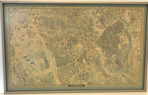 Vintage Judaica Jerusalem Israel Picture Map Framed Judaism Jewish