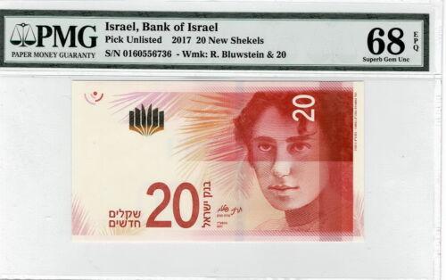 Israel 2017 Banknote 20 New Shekels PMG 68 P# 65