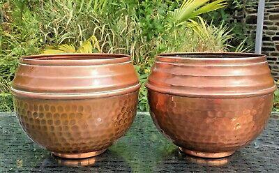PAIR copper PLANT POTS VILLEDIEU GARDEN PLANTER French VINTAGE SIZE 2