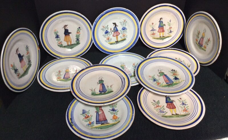 "Lot of Twelve(12) Early Quimper 8 1/4"" Plates"
