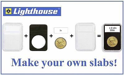 5 Coin Slab Holder For US Large Silver Dollar / Morgan 38mm Lighthouse Everslab (Large Dollar Coin)