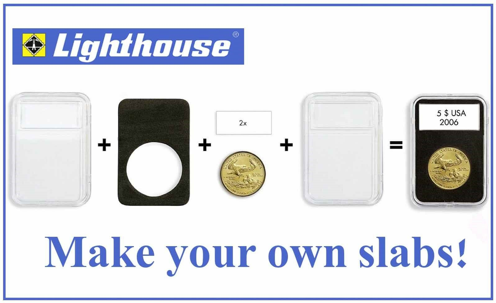 1 Slab Only Lighthouse QUICKSLAB 40mm Coin Display Slabs