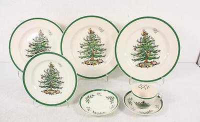 Spode Christmas Tree S3324 3 Dinner Plates Teacup 2 Saucers Bread Plate Lot 7