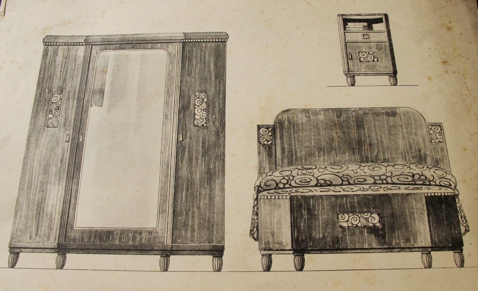 1920s art deco french furniture mobilier francais designs print moreau paris 4 picclick. Black Bedroom Furniture Sets. Home Design Ideas