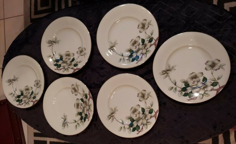 "Meito Norleans Livonia Dogwood 10.5"" Dinner Plates. Lot of 6. Occupied Japan"