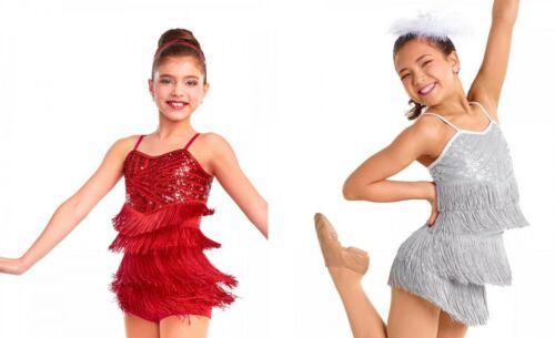 Dance Costume Child & Adult SIZES Red Silver Black Sequin Fringe Jazz Tap GROUP