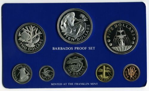 BARBADOS 1975 8 PIECE PROOF SET WITH SILVER COINS