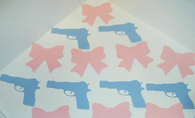Hand Crafted 50 -3 inch Bow Ties 50 -Guns Gender Reveal Litt