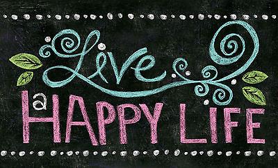 Happy Holidays Chalkboard (Toland Happy Life Chalkboard 18 x 30 Decorative Cute Leaf Floor Mat)